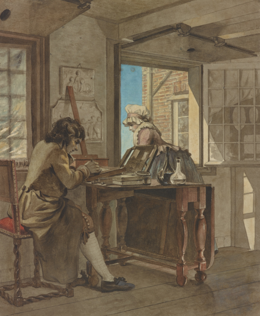 The Artist in his Atelier; Christiaan Andriessen (Dutch, 1775 - 1846); about 1805–1808; Black chalk and watercolor; 24.1 × 20.3 cm (9 1/2 × 8 in.); 2000.1; Rights Statement: No Copyright - United States