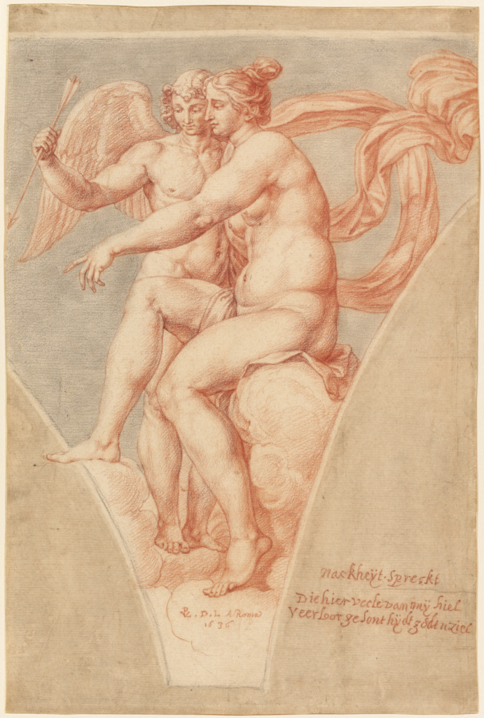 Venus and Cupid (after Raphael); Pieter van Lint (Flemish, 1609 - 1690); 1636; Black and red chalk and brown wash; 41.8 × 27.9 cm (16 7/16 × 11 in.); 2000.26; Rights Statement: No Copyright - United States