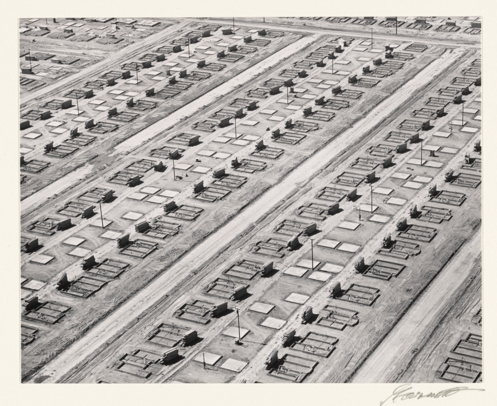 Foundations and Slabs, Lakewood, California; William A. Garnett (American, 1916 - 2006); Lakewood, California, United States; 1950; Gelatin silver print; 18.9 × 23.8 cm (7 7/16 × 9 3/8 in.); 2000.32.26; The J. Paul Getty Museum, Los Angeles; Rights Statement: In Copyright; Copyright: © Estate of William A. Garnett