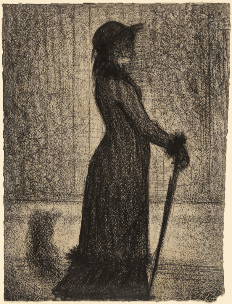 Woman Strolling (Une élégante); Georges Seurat (French, 1859 - 1891); about 1884; Conté crayon, fixed on laid paper; 31.8 × 24 cm (12 1/2 × 9 7/16 in.); 2000.30; The J. Paul Getty Museum, Los Angeles; Rights Statement: No Copyright - United States