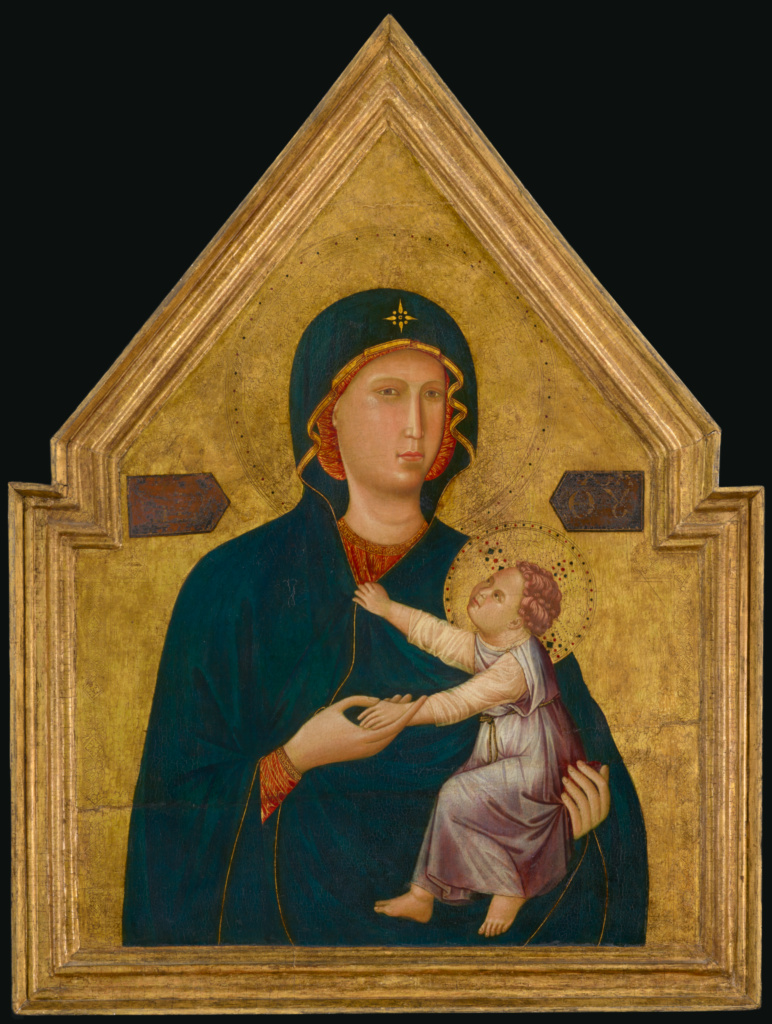Madonna and Child; Master of St. Cecilia (Italian, active about 1290 - 1320); 1290–1295; Tempera and gold leaf on panel; 2000.35; Rights Statement: No Copyright - United States