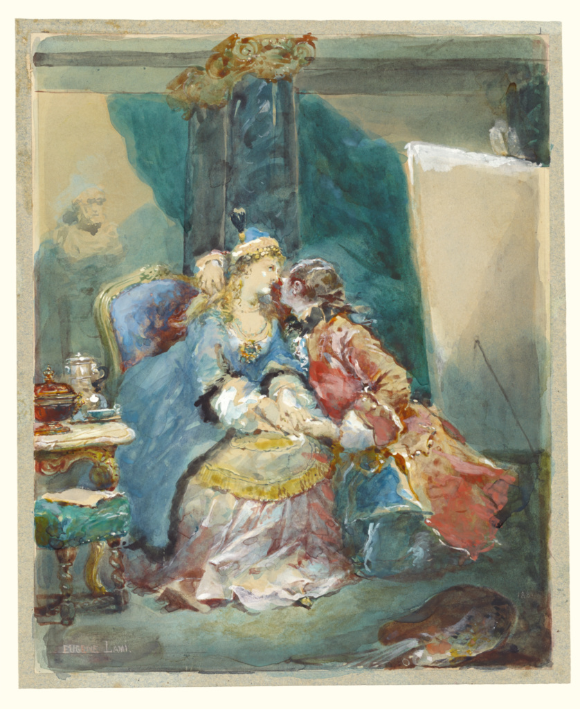 A Couple Embracing in an Artist's Studio; Eugène Louis Lami (French, 1800 - 1890); 1881; Watercolor over traces of black chalk, with touches of white gouache; 19.8 × 24.6 cm (7 13/16 × 9 11/16 in.); 2000.49; The J. Paul Getty Museum, Los Angeles, Gift of Dr. and Mrs. Richard A. Simms in honor of John Walsh on the occasion of his retirement as Director; Rights Statement: No Copyright - United States