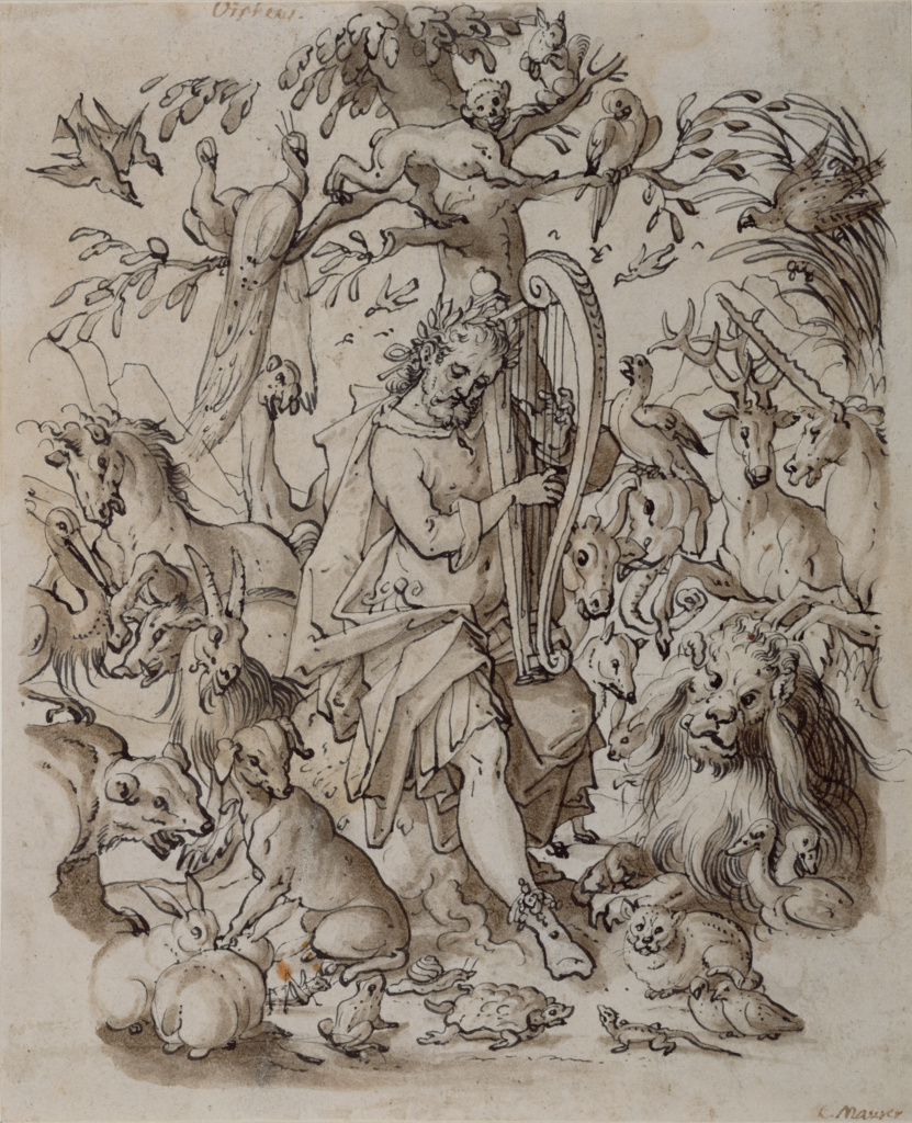 Orpheus Charming the Animals; Josias Murer II (Swiss, 1564 - 1630); about 1600; Black ink and brown wash on paper; 22.9 × 18.6 cm (9 × 7 5/16 in.); 2001.22; The J. Paul Getty Museum, Los Angeles; Rights Statement: No Copyright - United States