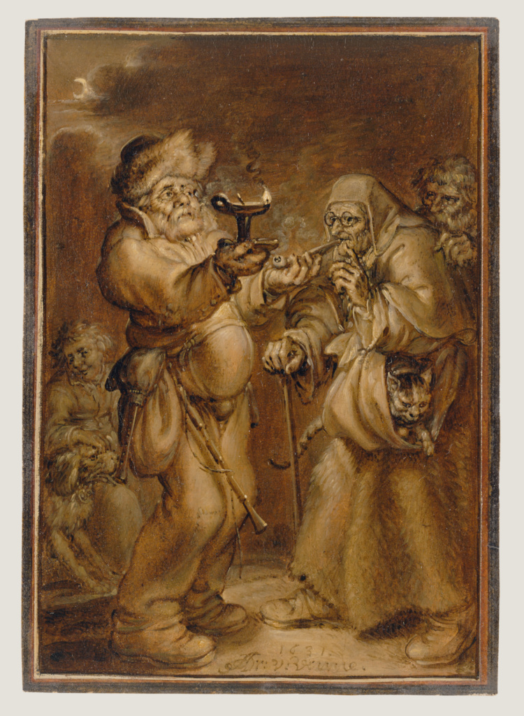 Moralizing Scene with an Old Woman and a Man; Adriaen van de Venne (Dutch, 1589 - 1662); 1631; Oil on paper; 16.7 × 11.4 cm (6 9/16 × 4 1/2 in.); 2001.39; The J. Paul Getty Museum, Los Angeles; Rights Statement: No Copyright - United States