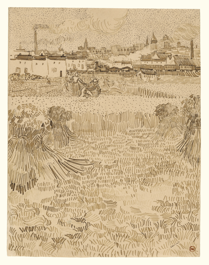 Arles:  View from the Wheatfields; Vincent van Gogh (Dutch, 1853 - 1890); Arles, France; 1888; Reed and quill pens and brown ink; 31.2 × 24.1 cm (12 5/16 × 9 1/2 in.); 2001.25; The J. Paul Getty Museum, Los Angeles; Rights Statement: No Copyright - United States