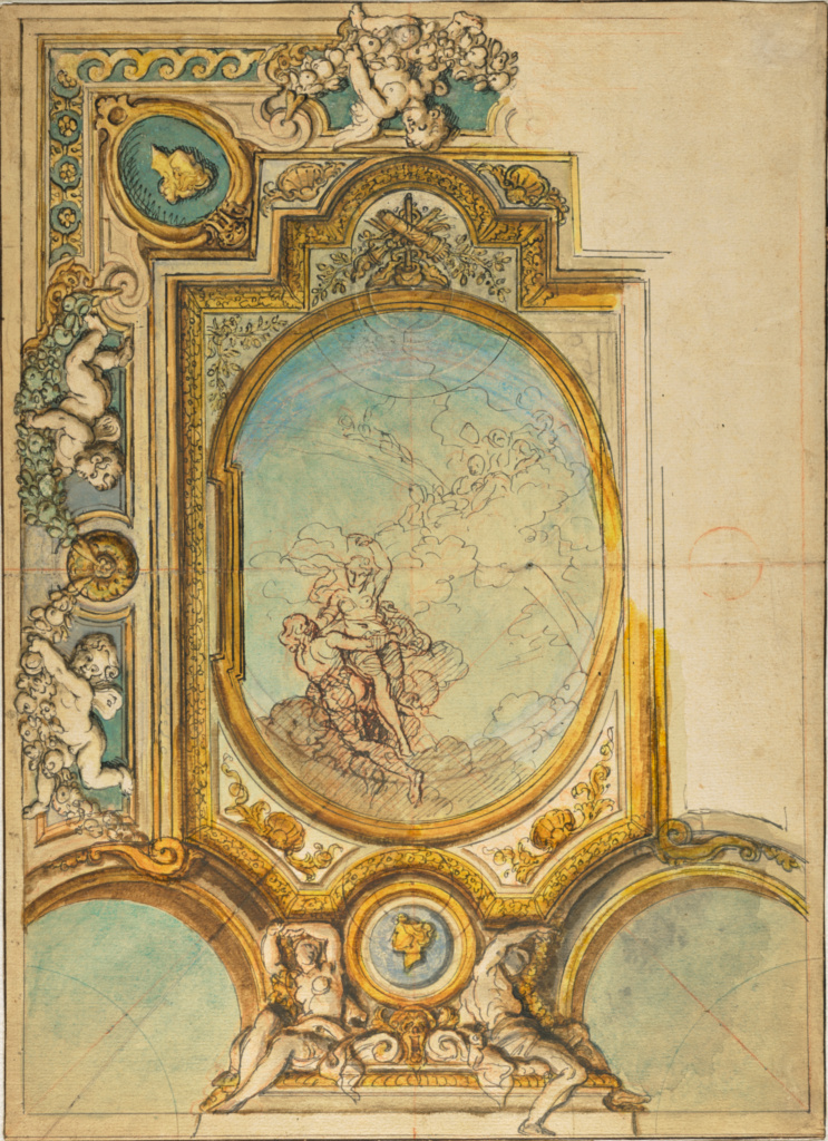 Studies for a Ceiling Decoration with the Apotheosis of Psyche (recto); Studies for a Ceiling Decoration with the Apotheosis of Psyche (verso); Charles de La Fosse (French, 1636 - 1716); about 1680; Pen, red chalk, watercolor and gouache (recto); Black and red chalk (verso); 26 × 36.2 cm (10 1/4 × 14 1/4 in.); 2001.47; The J. Paul Getty Museum, Los Angeles; Rights Statement: No Copyright - United States