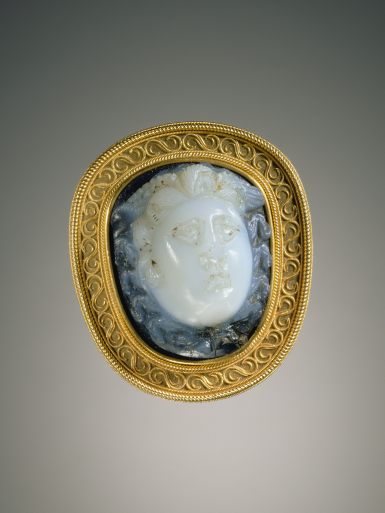 Cameo set in a 19th century mount; Gem Unknown, Mount by Alessandro Castellani; Roman Empire; 2nd–3rd century A.D.; Sardonyx set in a nineteenth-century gold mount by Alessandro Castellani; 3 × 2.8 cm (1 3/16 × 1 1/8 in.); 2001.28.12; The J. Paul Getty Museum, Villa Collection, Malibu, California; Rights Statement: No Copyright - United States