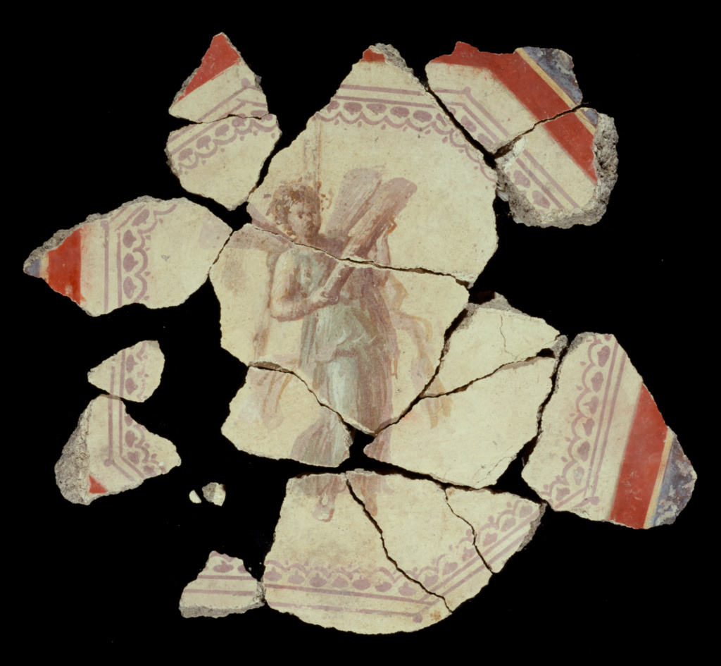 Fresco Fragment; Unknown; 1st century; Fresco; 14 × 7.6 cm (5 1/2 × 3 in.); 83.AG.222.5.20; Rights Statement: No Copyright - United States
