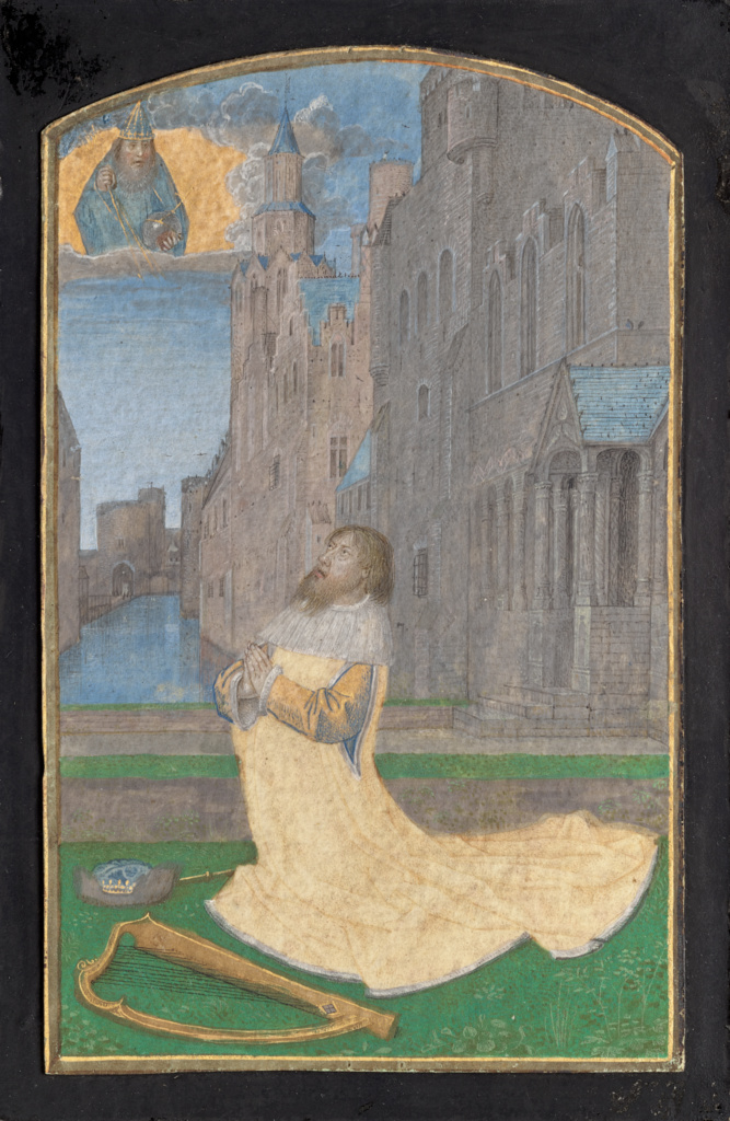King David in Penitence; Master of the Houghton Miniatures (Flemish, active about 1476 - 1480); Ghent, Belgium; about 1480; Tempera colors and gold; Leaf: 12.5 × 7.8 cm (4 15/16 × 3 1/16 in.); Ms. 117 (2018.78); The J. Paul Getty Museum, Los Angeles, Ms. 117; Rights Statement: No Copyright - United States