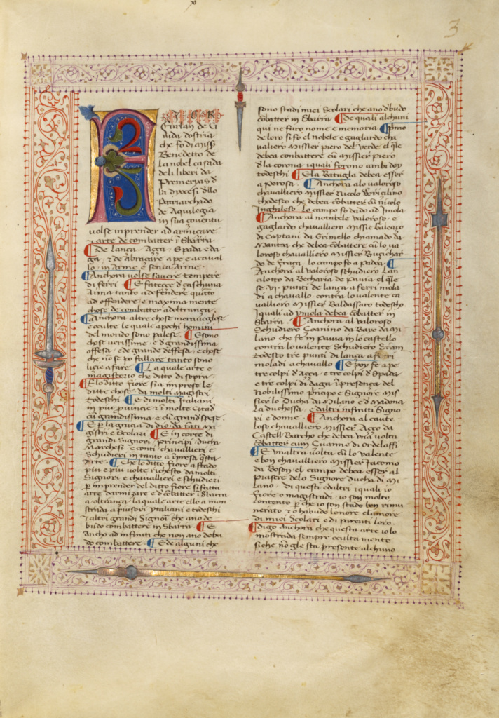 Decorated Text Page; Fiore Furlan dei Liberi da Premariacco (Italian, about 1340/1350 - before 1450); Padua (or), Italy; about 1410; Tempera colors, gold leaf, silver leaf, and ink on parchment; Leaf: 27.9 × 20.6 cm (11 × 8 1/8 in.); Ms. Ludwig XV 13 (83.MR.183), fol. 1; The J. Paul Getty Museum, Los Angeles, Ms. Ludwig XV 13, fol. 1; Rights Statement: No Copyright - United States