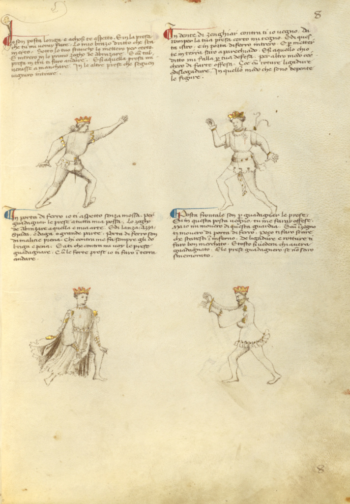 Unarmed Combat; Fiore Furlan dei Liberi da Premariacco (Italian, about 1340/1350 - before 1450); Padua (or), Italy; about 1410; Tempera colors, gold leaf, silver leaf, and ink on parchment; Leaf: 27.9 × 20.6 cm (11 × 8 1/8 in.); Ms. Ludwig XV 13 (83.MR.183), fol. 6; The J. Paul Getty Museum, Los Angeles, Ms. Ludwig XV 13, fol. 6; Rights Statement: No Copyright - United States