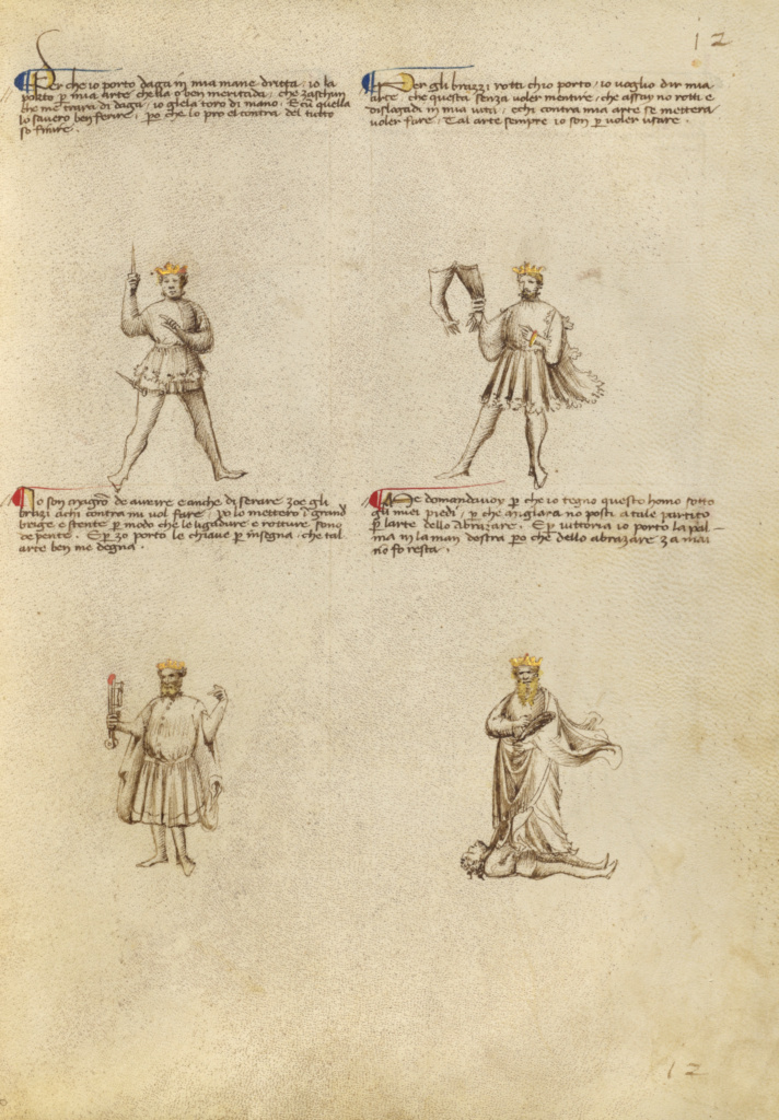 Four Allegorical Figures; Fiore Furlan dei Liberi da Premariacco (Italian, about 1340/1350 - before 1450); Venice, Italy; about 1410; Tempera colors, gold leaf, silver leaf, and ink; Leaf: 27.9 × 20.6 cm (11 × 8 1/8 in.); Ms. Ludwig XV 13 (83.MR.183), fol. 10; The J. Paul Getty Museum, Los Angeles, Ms. Ludwig XV 13, fol. 10; Rights Statement: No Copyright - United States