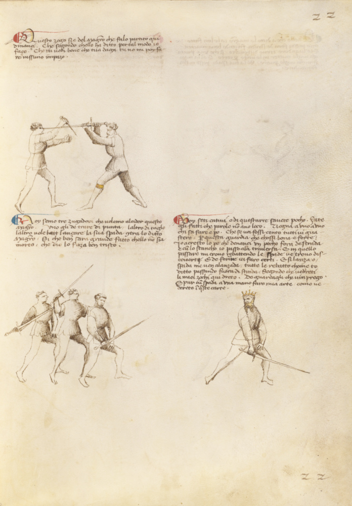 Combat with Dagger and Sword; Fiore Furlan dei Liberi da Premariacco (Italian, about 1340/1350 - before 1450); Padua (or), Italy; about 1410; Tempera colors, gold leaf, silver leaf, and ink; Leaf: 27.9 × 20.6 cm (11 × 8 1/8 in.); Ms. Ludwig XV 13 (83.MR.183), fol. 20; The J. Paul Getty Museum, Los Angeles, Ms. Ludwig XV 13, fol. 20; Rights Statement: No Copyright - United States