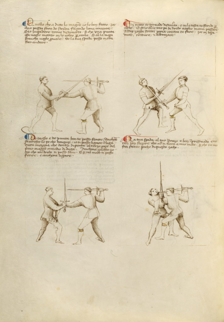 Combat with Sword; Unknown, Fiore Furlan dei Liberi da Premariacco (Italian, about 1340/1350 - before 1450); Padua (or), Italy; about 1410; Tempera colors, gold leaf, silver leaf, and ink; Leaf: 27.9 × 20.6 cm (11 × 8 1/8 in.); Ms. Ludwig XV 13 (83.MR.183), fol. 20v; The J. Paul Getty Museum, Los Angeles, Ms. Ludwig XV 13, fol. 20v; Rights Statement: No Copyright - United States