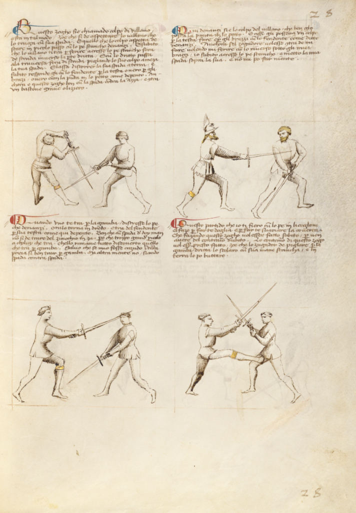 Combat with Sword; Fiore Furlan dei Liberi da Premariacco (Italian, about 1340/1350 - before 1450); Padua (or), Italy; about 1410; Tempera colors, gold leaf, silver leaf, and ink on parchment; Leaf: 27.9 × 20.6 cm (11 × 8 1/8 in.); Ms. Ludwig XV 13 (83.MR.183), fol. 26; The J. Paul Getty Museum, Los Angeles, Ms. Ludwig XV 13, fol. 26; Rights Statement: No Copyright - United States
