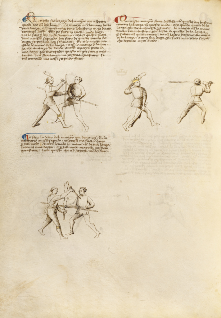 Combat with Dagger and Staff; Unknown, Fiore Furlan dei Liberi da Premariacco (Italian, about 1340/1350 - before 1450); Padua, Italy; about 1410; Tempera colors, gold leaf, silver leaf, and ink; Leaf: 27.9 × 20.6 cm (11 × 8 1/8 in.); Ms. Ludwig XV 13 (83.MR.183), fol. 31v; The J. Paul Getty Museum, Los Angeles, Ms. Ludwig XV 13, fol. 31v; Rights Statement: No Copyright - United States