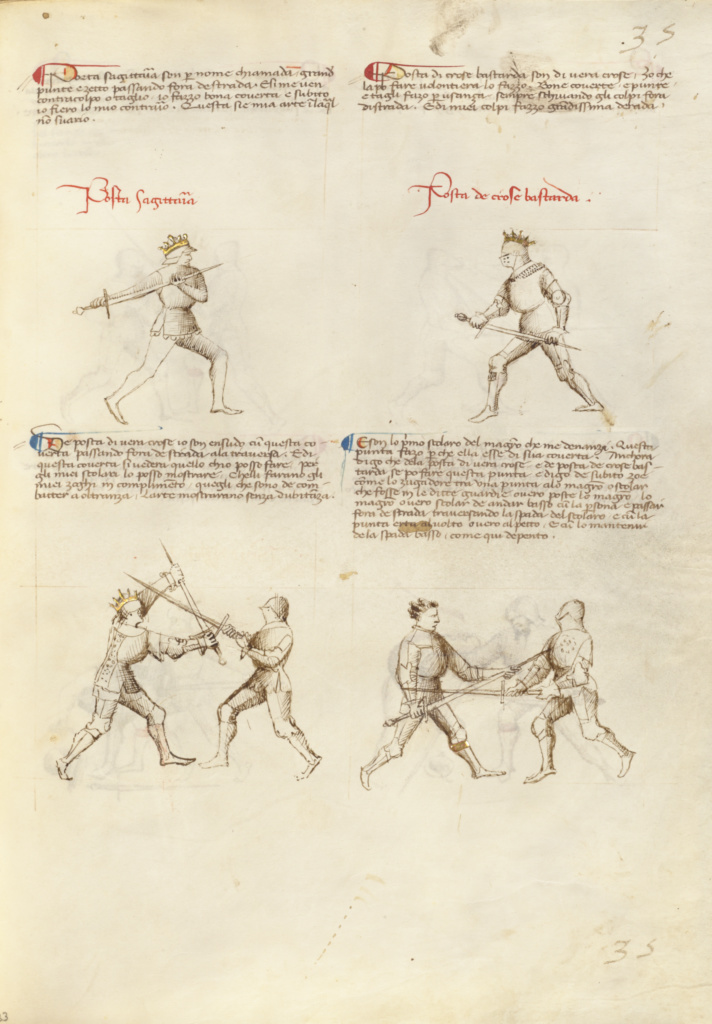 Combat with Sword; Fiore Furlan dei Liberi da Premariacco (Italian, about 1340/1350 - before 1450); Padua (or), Italy; about 1410; Tempera colors, gold leaf, silver leaf, and ink on parchment; Leaf: 27.9 × 20.6 cm (11 × 8 1/8 in.); Ms. Ludwig XV 13 (83.MR.183), fol. 33; The J. Paul Getty Museum, Los Angeles, Ms. Ludwig XV 13, fol. 33; Rights Statement: No Copyright - United States