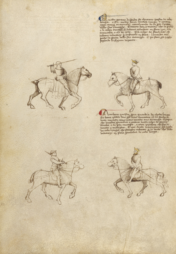 Equestrian Combat with Sword; Fiore Furlan dei Liberi da Premariacco (Italian, about 1340/1350 - before 1450); Venice, Italy; about 1410; Tempera colors, gold leaf, silver leaf, and ink; Leaf: 27.9 × 20.6 cm (11 × 8 1/8 in.); Ms. Ludwig XV 13 (83.MR.183), fol. 43v; The J. Paul Getty Museum, Los Angeles, Ms. Ludwig XV 13, fol. 43v; Rights Statement: No Copyright - United States
