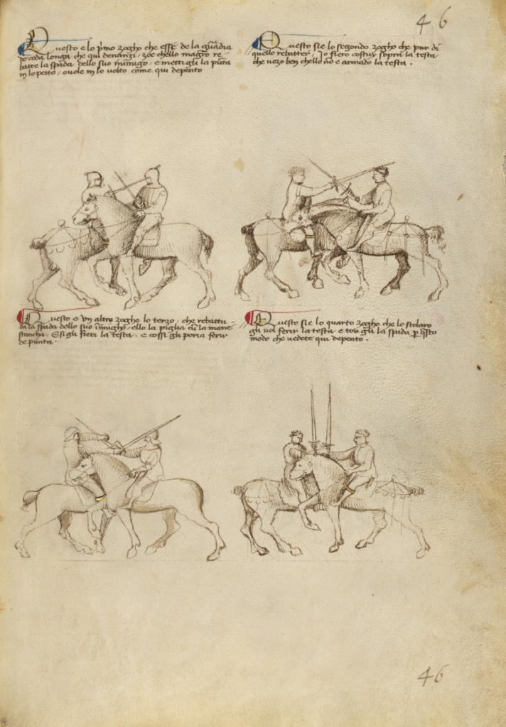 Equestrian Combat with Sword; Fiore Furlan dei Liberi da Premariacco (Italian, about 1340/1350 - before 1450); Venice, Italy; about 1410; Tempera colors, gold leaf, silver leaf, and ink; Leaf: 27.9 × 20.6 cm (11 × 8 1/8 in.); Ms. Ludwig XV 13 (83.MR.183), fol. 44; The J. Paul Getty Museum, Los Angeles, Ms. Ludwig XV 13, fol. 44; Rights Statement: No Copyright - United States
