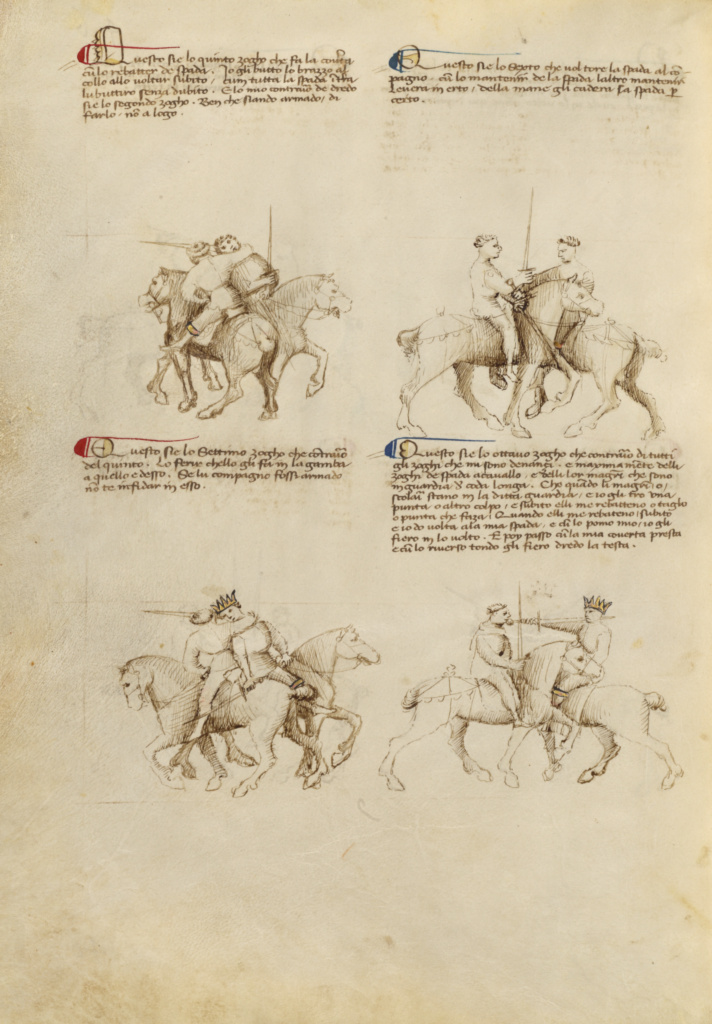 Equestrian Combat with Sword; Fiore Furlan dei Liberi da Premariacco (Italian, about 1340/1350 - before 1450); Padua (or), Italy; about 1410; Tempera colors, gold leaf, silver leaf, and ink; Leaf: 27.9 × 20.6 cm (11 × 8 1/8 in.); Ms. Ludwig XV 13 (83.MR.183), fol. 44v; The J. Paul Getty Museum, Los Angeles, Ms. Ludwig XV 13, fol. 44v; Rights Statement: No Copyright - United States