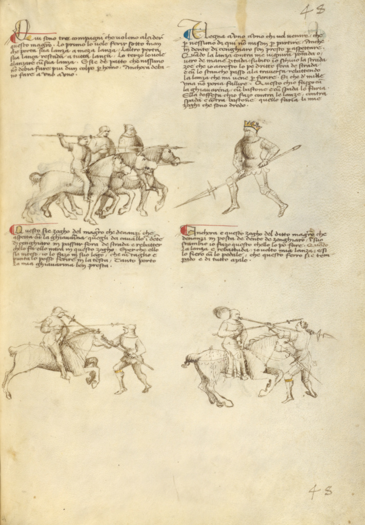 Combat against an Equestrian Opponent with Lance; Fiore Furlan dei Liberi da Premariacco (Italian, about 1340/1350 - before 1450); Venice, Italy; about 1410; Tempera colors, gold leaf, silver leaf, and ink on parchment; Leaf: 27.9 × 20.6 cm (11 × 8 1/8 in.); Ms. Ludwig XV 13 (83.MR.183), fol. 46; The J. Paul Getty Museum, Los Angeles, Ms. Ludwig XV 13, fol. 46; Rights Statement: No Copyright - United States