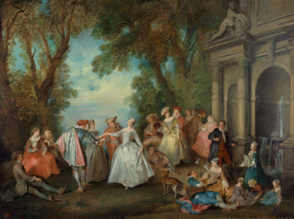 Dance before a Fountain; Nicolas Lancret (French, 1690 - 1743); by 1724; Oil on canvas; 97.8 × 130.8 cm (38 1/2 × 51 1/2 in.); 2001.54; Rights Statement: No Copyright - United States