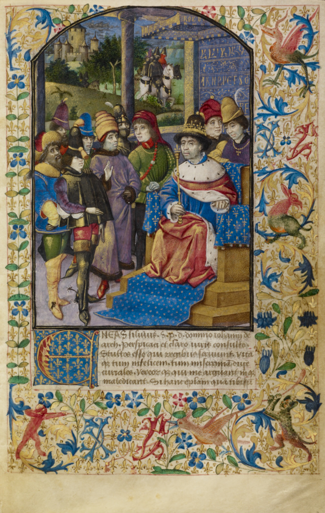 The French King at Court; Unknown; France; about 1460–1470; Tempera colors, gold leaf, gold paint, and ink; Leaf: 17.6 × 11.4 cm (6 15/16 × 4 1/2 in.); Ms. 68 (2001.45), fol. 1; The J. Paul Getty Museum, Los Angeles, Ms. 68, fol. 1; Rights Statement: No Copyright - United States