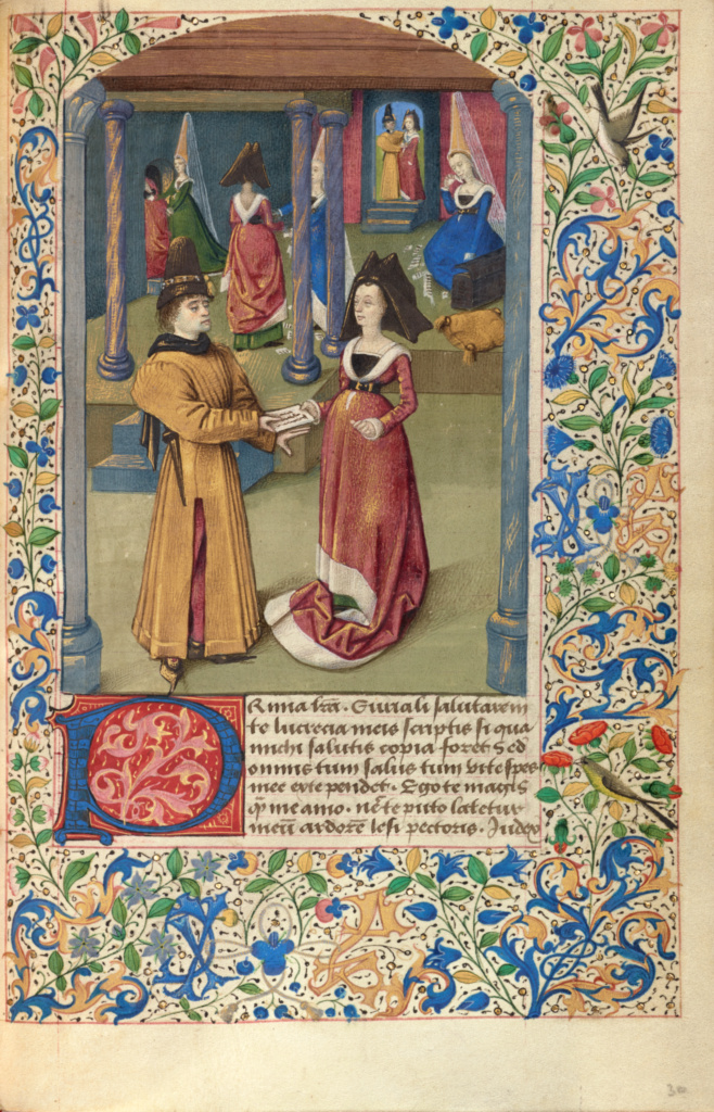 Euryalus Sends His First Letter to Lucretia; Unknown; about 1460–1470; Tempera colors, gold leaf, gold paint, and ink on parchment; Leaf: 17.6 × 11.4 cm (6 15/16 × 4 1/2 in.); Ms. 68 (2001.45), fol. 30; Rights Statement: No Copyright - United States