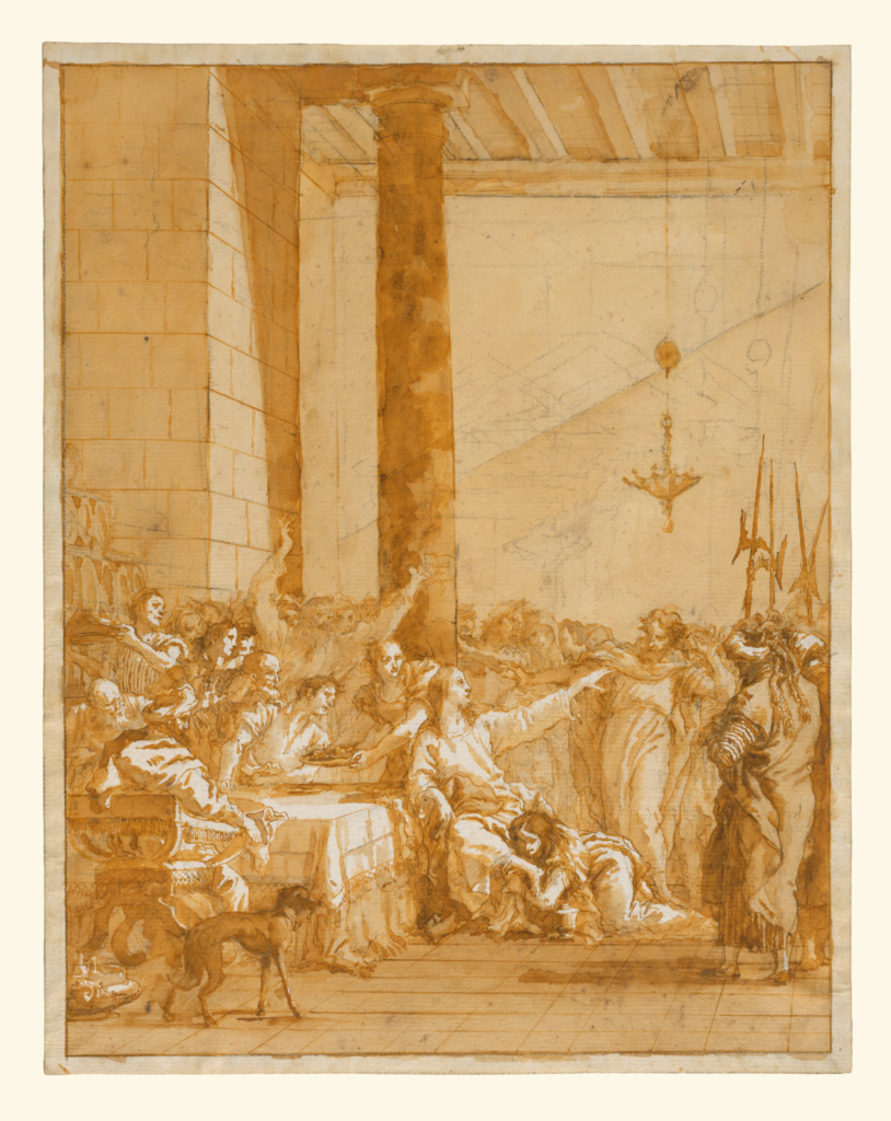 Christ at Supper with Simon the Pharisee, with the Anointment of Christ's Feet by Mary Magdalen; Giovanni Domenico Tiepolo (Italian, 1727 - 1804); about 1785; Pen and brown and gray ink, brush with brown and gray wash, over black chalk; 48.6 × 37.5 cm (19 1/8 × 14 3/4 in.); 2001.83; The J. Paul Getty Museum, Los Angeles; Rights Statement: No Copyright - United States