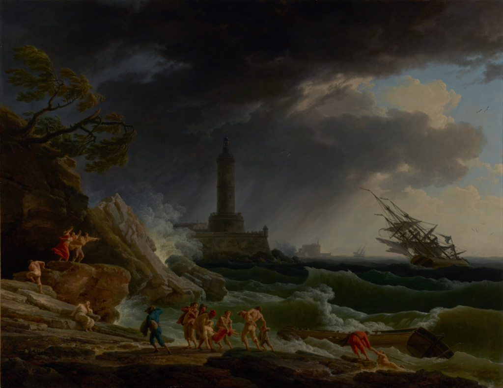 A Storm on a Mediterranean Coast; Claude-Joseph Vernet (French, 1714 - 1789); 1767; Oil on canvas; 113 × 145.7 cm (44 1/2 × 57 3/8 in.); 2002.9.1; The J. Paul Getty Museum, Los Angeles; Rights Statement: No Copyright - United States