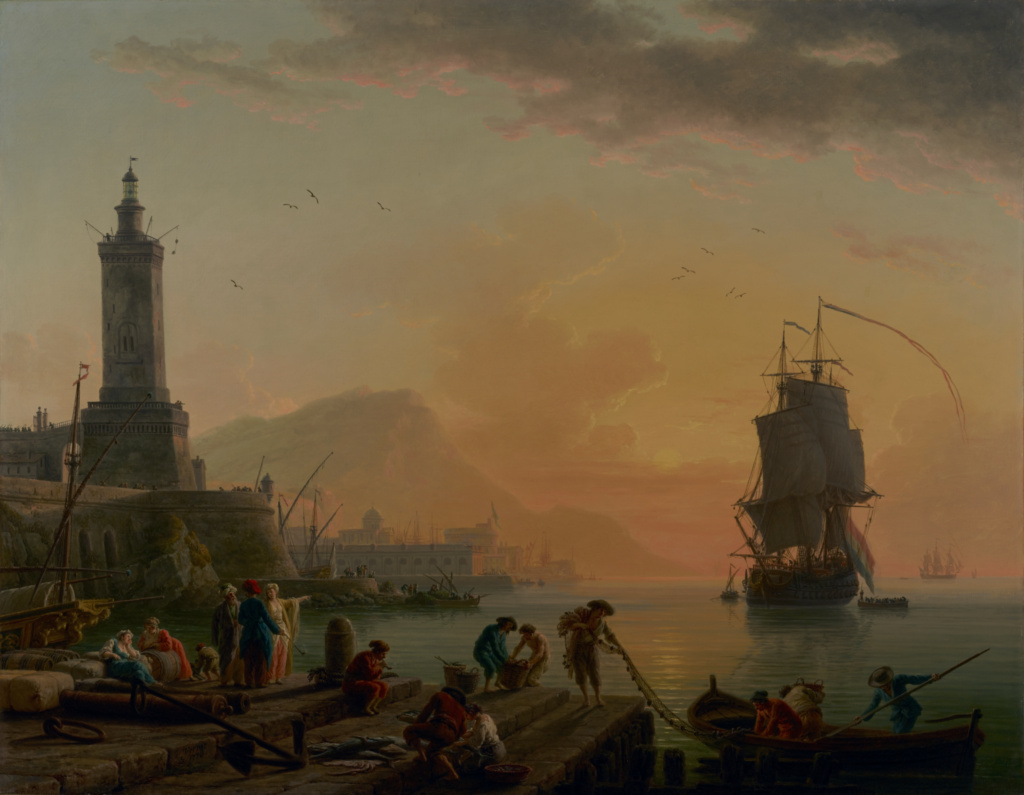A Calm at a Mediterranean Port; Claude-Joseph Vernet (French, 1714 - 1789); 1770; Oil on canvas; 113 × 145.7 cm (44 1/2 × 57 3/8 in.); 2002.9.2; Rights Statement: No Copyright - United States