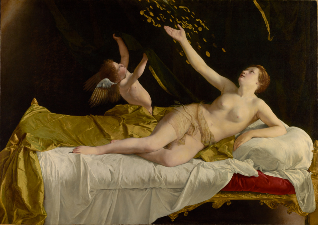 Danaë and the Shower of Gold; Orazio Gentileschi (Italian, 1563 - 1639); 1621–1623; Oil on canvas; 161.5 × 227.1 cm (63 9/16 × 89 7/16 in.); 2016.6; Rights Statement: No Copyright - United States