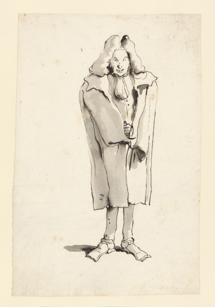 Caricature of a Man Wearing an Overcoat; Giovanni Battista Tiepolo (Italian, 1696 - 1770); about 1753–1762; Pen and black ink and brush with gray wash; 21 × 14 cm (8 1/4 × 5 1/2 in.); 2002.26; The J. Paul Getty Museum, Los Angeles; Rights Statement: No Copyright - United States