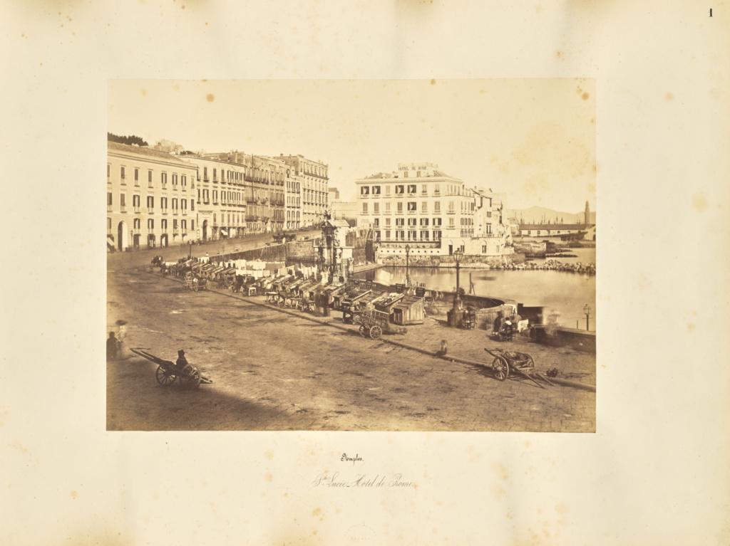 Naples. Ste Lucie - Hotel de Rome; Giorgio Sommer (Italian, born Germany, 1834 - 1914); 1857; Albumen silver print; 27.2 × 38 cm (10 11/16 × 14 15/16 in.); 84.XO.257.1; Rights Statement: No Copyright - United States