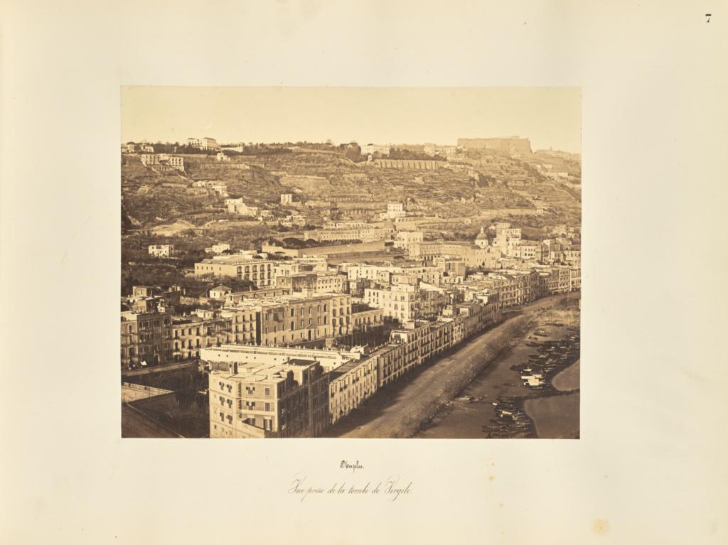 Naples. Vue prise de la tombe de Virgile; Giorgio Sommer (Italian, born Germany, 1834 - 1914); 1857; Albumen silver print; 27.2 × 38 cm (10 11/16 × 14 15/16 in.); 84.XO.257.7; Rights Statement: No Copyright - United States