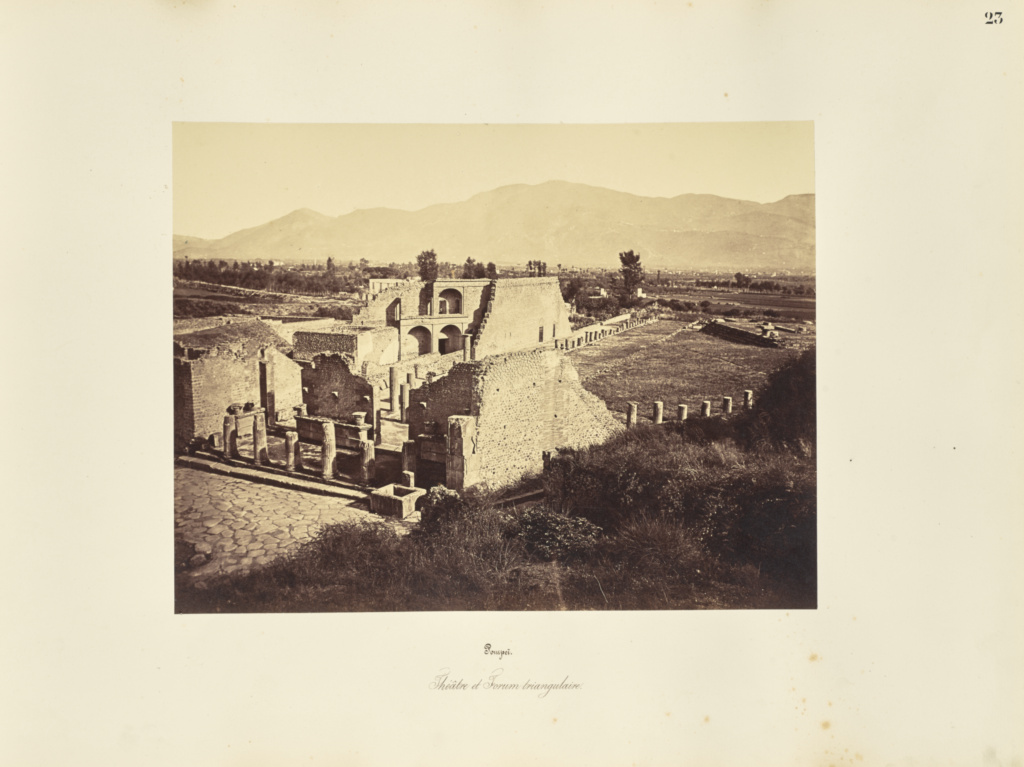 Pompei. Theatre et Forum triangulaire.; Giorgio Sommer (Italian, born Germany, 1834 - 1914); 1857; Albumen silver print; 27.3 × 38.1 cm (10 3/4 × 15 in.); 84.XO.257.23; Rights Statement: No Copyright - United States