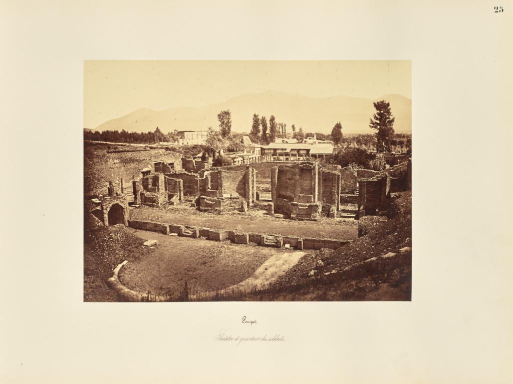 Pompei. Theatre et quartier des soldats.; Giorgio Sommer (Italian, born Germany, 1834 - 1914); 1857; Albumen silver print; 27.3 × 38.1 cm (10 3/4 × 15 in.); 84.XO.257.25; Rights Statement: No Copyright - United States
