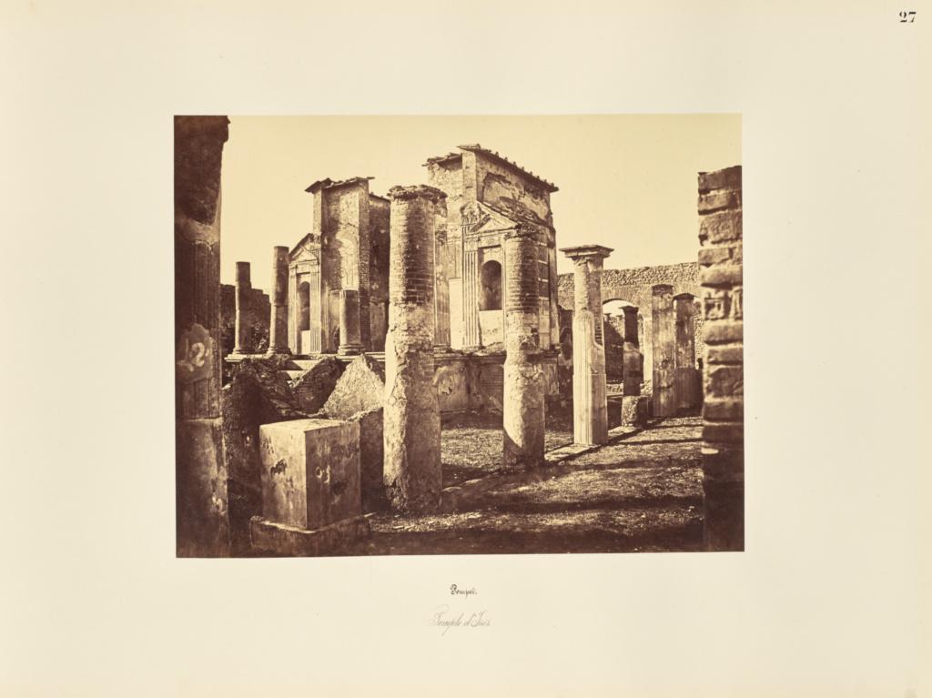 Pompei. Temple d'Isis.; Giorgio Sommer (Italian, born Germany, 1834 - 1914); 1857; Albumen silver print; 27.3 × 38.1 cm (10 3/4 × 15 in.); 84.XO.257.27; Rights Statement: No Copyright - United States