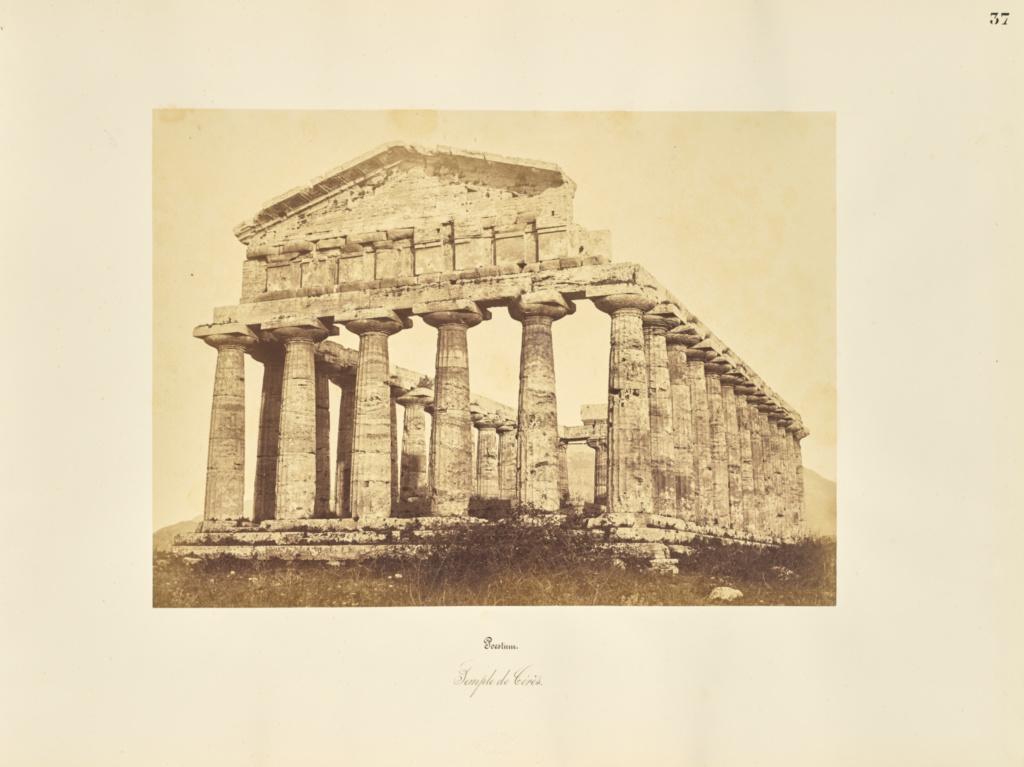 Poestum. Temple de Ceres; Giorgio Sommer (Italian, born Germany, 1834 - 1914); 1857; Albumen silver print; 27.3 × 38.1 cm (10 3/4 × 15 in.); 84.XO.257.36; Rights Statement: No Copyright - United States