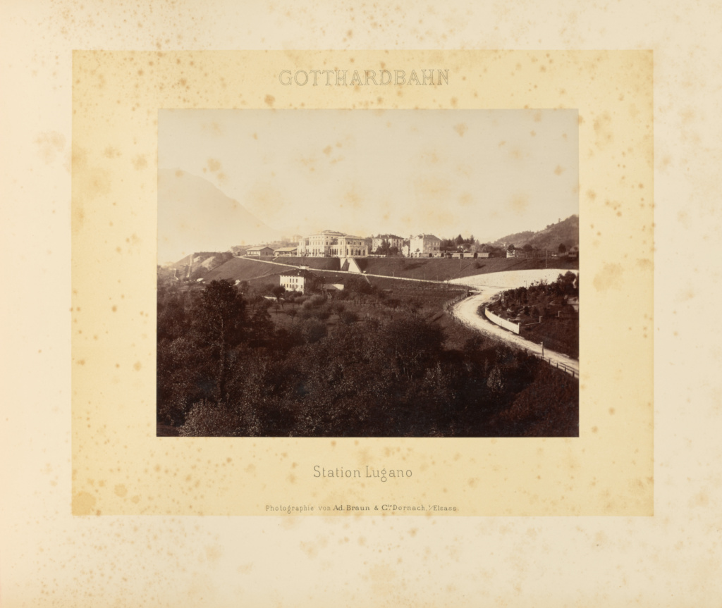 Gotthardbahn: Station Lugano; Adolphe Braun & Cie (French, founded 1876, dissolved 1889); Dornach, France; about 1875–1882; Albumen silver print; 21.2 × 27.3 cm (8 3/8 × 10 3/4 in.); 84.XO.391.38; The J. Paul Getty Museum, Los Angeles; Rights Statement: No Copyright - United States