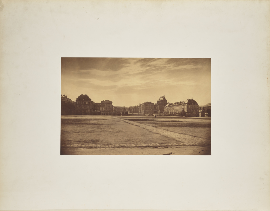 [Exterior view of Château de Versailles]; André Adolphe-Eugène Disdéri (French, 1819 - 1889); 1857; Albumen silver print; 23.3 × 36 cm (9 3/16 × 14 3/16 in.); 84.XO.433.1; Rights Statement: No Copyright - United States