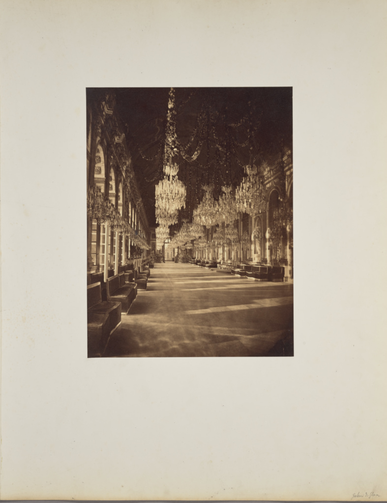 Galerie des Glaces; André Adolphe-Eugène Disdéri (French, 1819 - 1889); 1857; Albumen silver print; 34.7 × 26.5 cm (13 11/16 × 10 7/16 in.); 84.XO.433.7; Rights Statement: No Copyright - United States