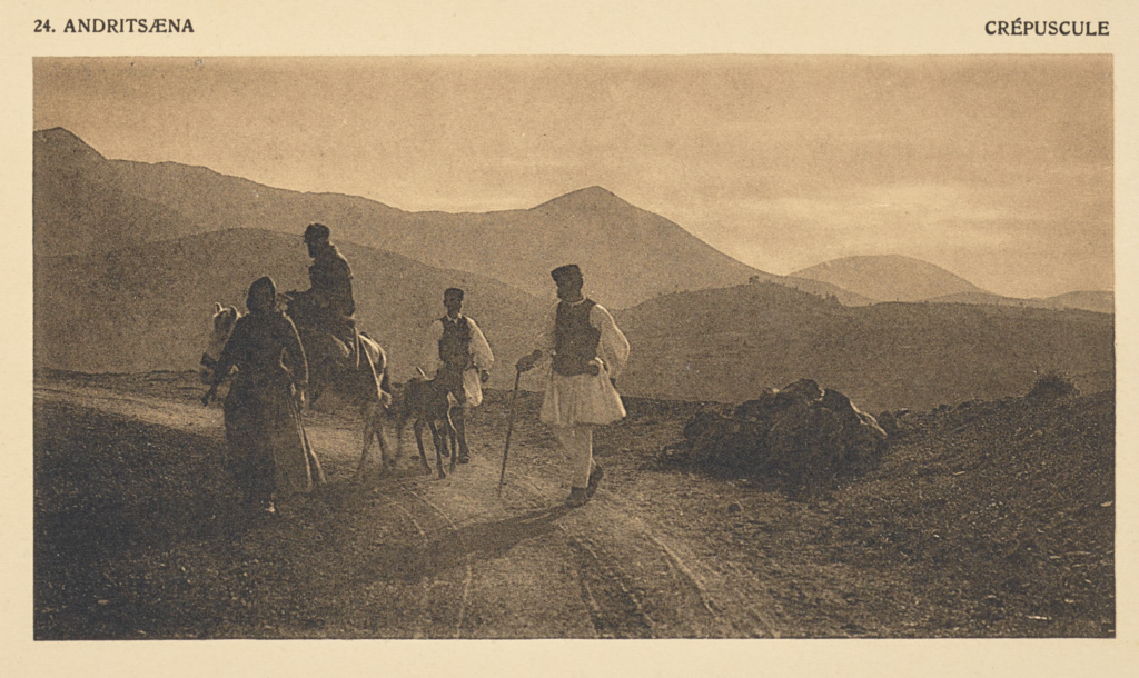 Andritsæna. Crépuscule; Frédéric Boissonnas (Swiss, 1858 - 1946); 1910; Heliogravure / Photolithograph; 7.6 × 14.2 cm (3 × 5 9/16 in.); 84.XB.584.30; Rights Statement: No Copyright - United States