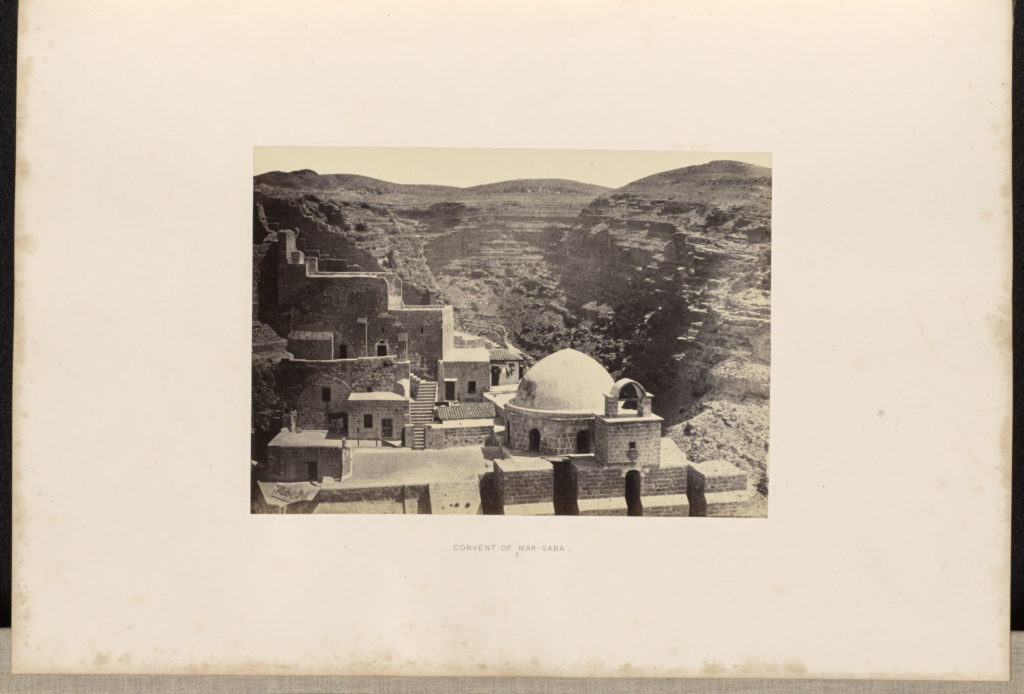 Convent of Mar-Saba; Francis Frith (English, 1822 - 1898); 1857; Albumen silver print; 16.3 × 23 cm (6 7/16 × 9 1/16 in.); 84.XO.606.25; Rights Statement: No Copyright - United States