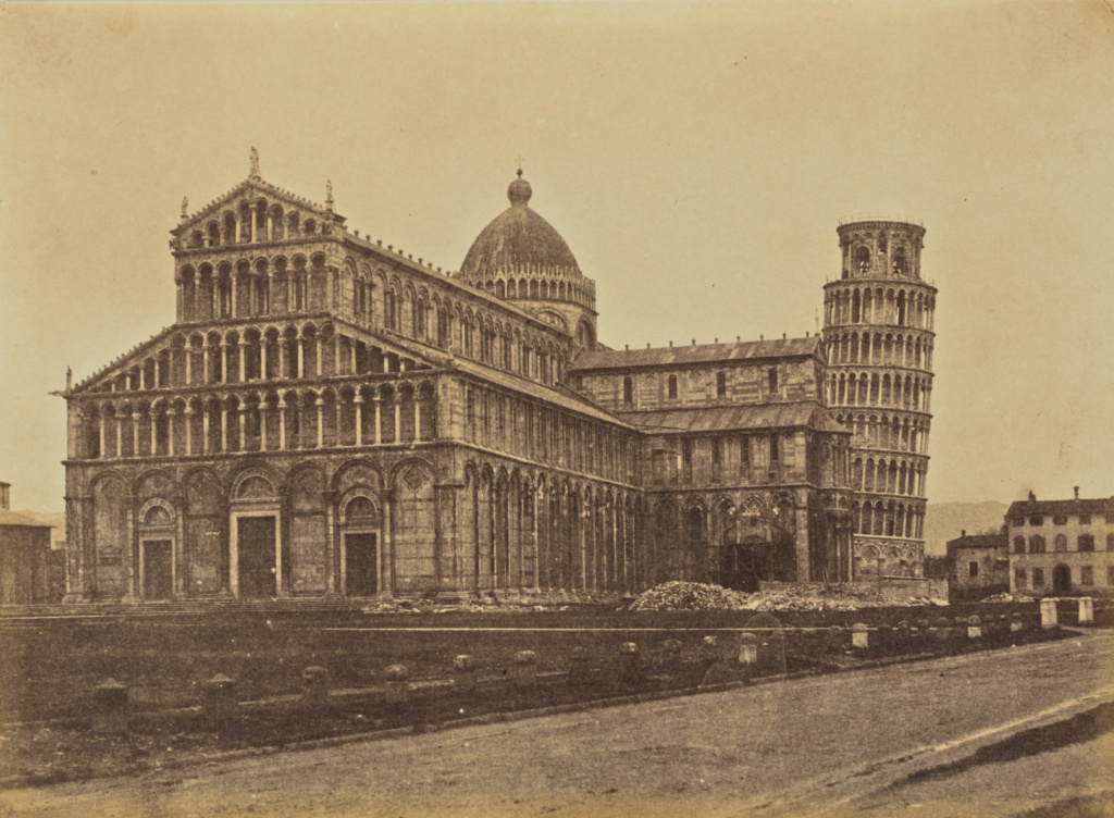 Cathedral & Campanile, Pisa; Jane Martha St. John (British, 1801 - 1882); Pisa, Italy; 1856–1859; Albumen silver print from a paper negative; 18.2 × 24.8 cm (7 3/16 × 9 3/4 in.); 84.XA.760.14.3; The J. Paul Getty Museum, Los Angeles; Rights Statement: No Copyright - United States