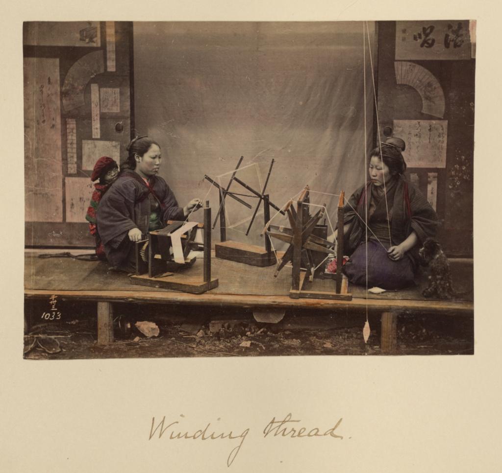 Winding Thread; Shinichi Suzuki (Japanese, 1835 - 1919); about 1873 - 1883; Hand-colored albumen silver print; 13 × 17.4 cm (5 1/8 × 6 7/8 in.); 84.XA.765.8.100; Rights Statement: No Copyright - United States
