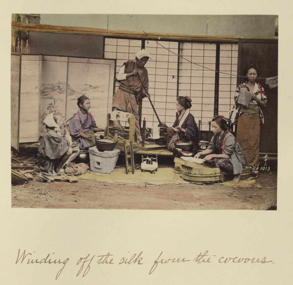 Winding Off the Silk From the Cocoons; Shinichi Suzuki (Japanese, 1835 - 1919); Japan; about 1873–1883; Hand-colored albumen silver print; 12.7 × 17.2 cm (5 × 6 3/4 in.); 84.XA.765.8.101; The J. Paul Getty Museum, Los Angeles; Rights Statement: No Copyright - United States