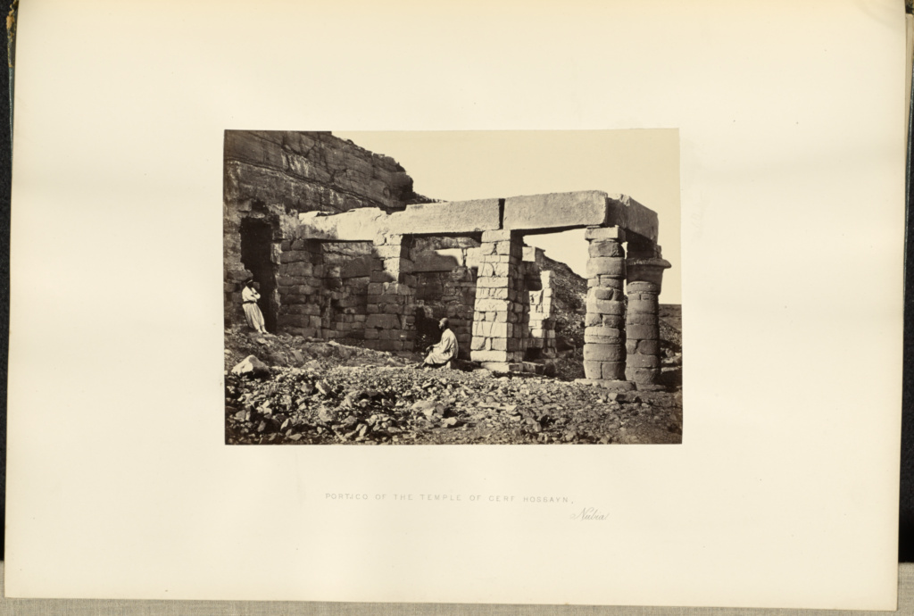 Portico of the Temple of Cerf Hossayn, Nubia; Francis Frith (English, 1822 - 1898); 1857; Albumen silver print; 15.4 × 22.1 cm (6 1/16 × 8 11/16 in.); 84.XO.826.3.25; Rights Statement: No Copyright - United States