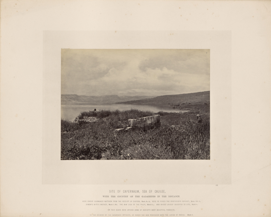 Site of Capernaum, Sea of Galilee, with the Country of the Gadarenes in the Distance; Francis Frith (English, 1822 - 1898); Israel; about 1865; Albumen silver print; 15.3 × 20.4 cm (6 × 8 1/16 in.); 84.XO.826.5.34; The J. Paul Getty Museum, Los Angeles; Rights Statement: No Copyright - United States