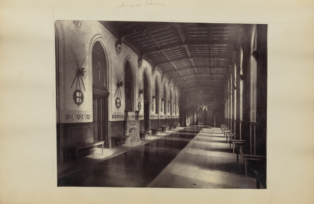 Hallway lined with armor] (Getty Museum)